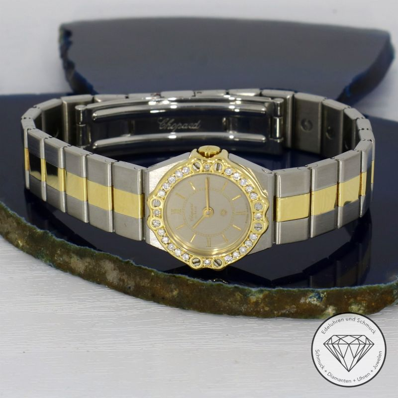 Chopard St. Moritz Mini Stahl Gold 19mm Diamanten Quarz